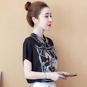 TS12332#真丝印花衬衫夏装新款休闲短袖女复古绣花方领白色衬衣女