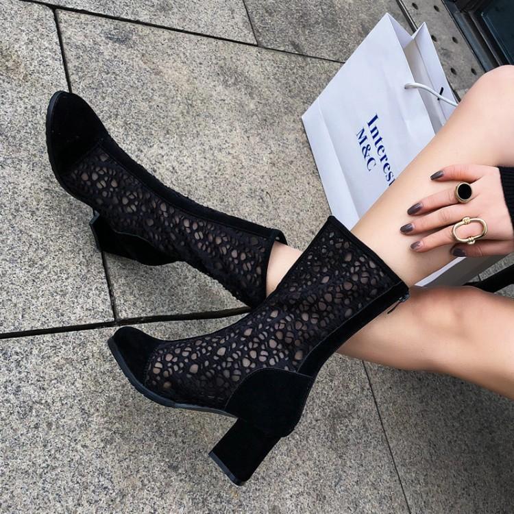 镂空踝靴真皮短靴女2019春夏新款中筒网靴粗跟圆头磨砂高跟凉靴子