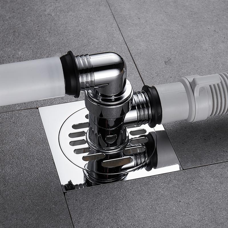 洗衣机排水管下水管地漏专用接头盖板下水管道三通两用防溢水防臭(排水管下水管地漏专用接头)