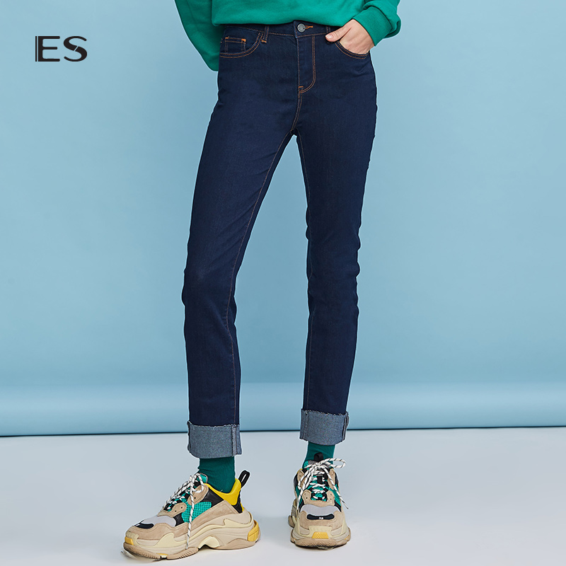 Aige ES2018 Winter New female pure color skinny skinny jeans 8E032314248