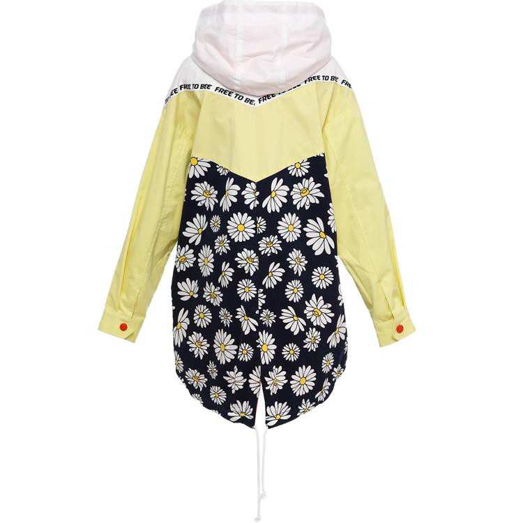 Aige ES thời trang giản dị cúc nhỏ khâu ngắn ngắn trùm đầu áo gió áo khoác nữ 17033403386