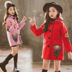 女童呢子外套2019新款洋气秋冬中长款夹棉加厚中大童儿童毛呢大衣
