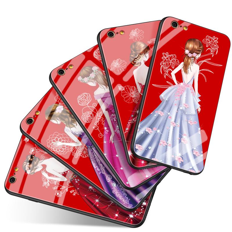 玻璃壳iPhone6手机壳苹果6plus套女款6s个性创意sp防摔红黑六潮