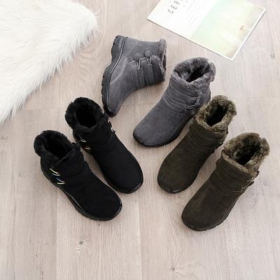 【康妮琳】冬季韩版百搭牛反绒雪地靴