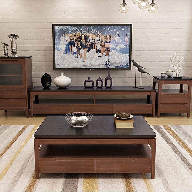 北歐火燒石茶幾電視柜組合簡約現代客廳大小戶型大理石水曲柳實木