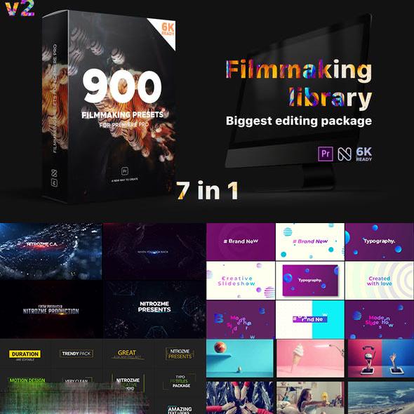【A99】PR预设模板-900+文字标题场景片头视频调色转场特效包装工具包V2
