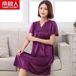 Antarctic nightdress female summer ice silk short-sleeved thin silk pajamas female spring and summer middle-aged mother plus size 200 kg