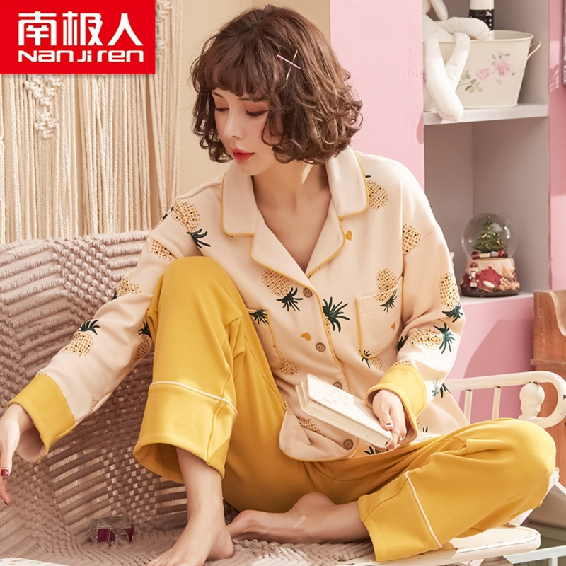 Antarctic pyjamas women's spring and autumn cotton long-sleeve cute cotton home clothing summer women thin can wear sets