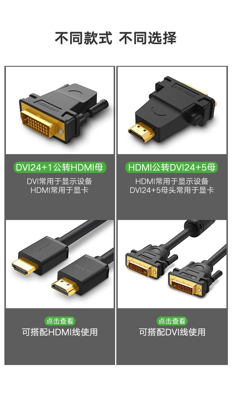 【獨家新品】綠聯dvi轉hdmi轉接頭顯示器屏高清連接線電腦顯卡外接口轉換器筆記