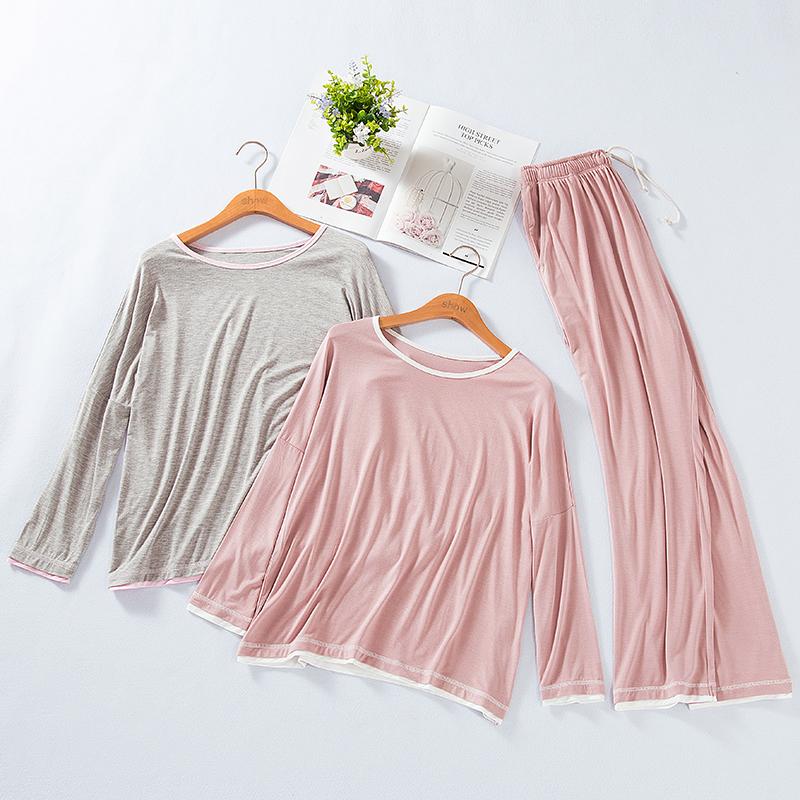 Bộ đồ ngủ mới Modal Nữ dài tay mỏng manh Mặc thường đeo cổ tròn Bảo hiểm rủi ro dịch vụ gia đình Bộ hai mảnh - Cặp đôi