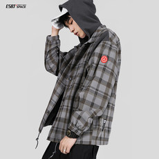 Twenty-eight autumn retro plaid hooded tide brand casual jacket men's loose 2019 new student jacket