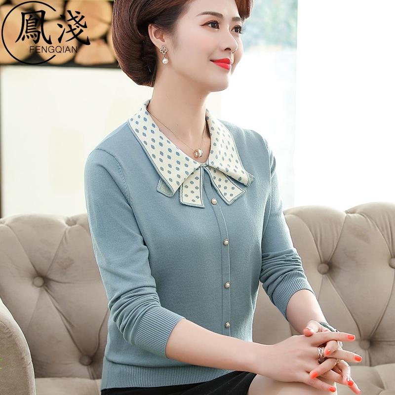 中年短线春秋装针织妈妈衫毛衣新款上衣衣中老年女T恤小衫薄打底