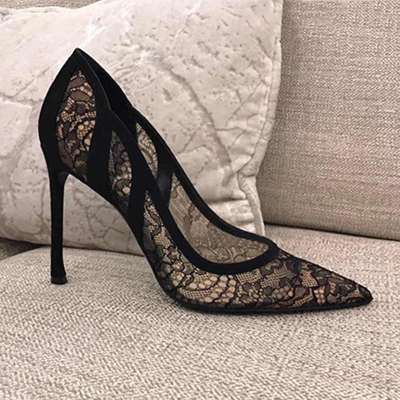 新款浅口单鞋拼色真皮镂空婚鞋伴娘鞋尖头蕾丝细跟女黑色高跟鞋