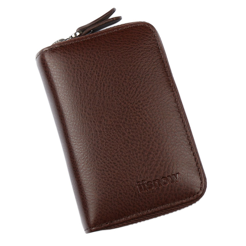 USD 19.21] Men\'s genuine leather zipper card package business card ...