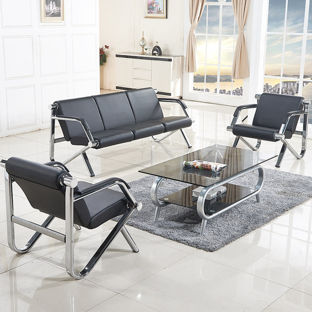Simple office sofa coffee table combination simple stainless steel reception office sofa hardware iron steel frame three people