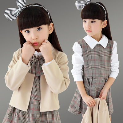 Children 's clothing autumn 2017 new girls dress sets skirt plaid shirt skirt children' s clothing girls college