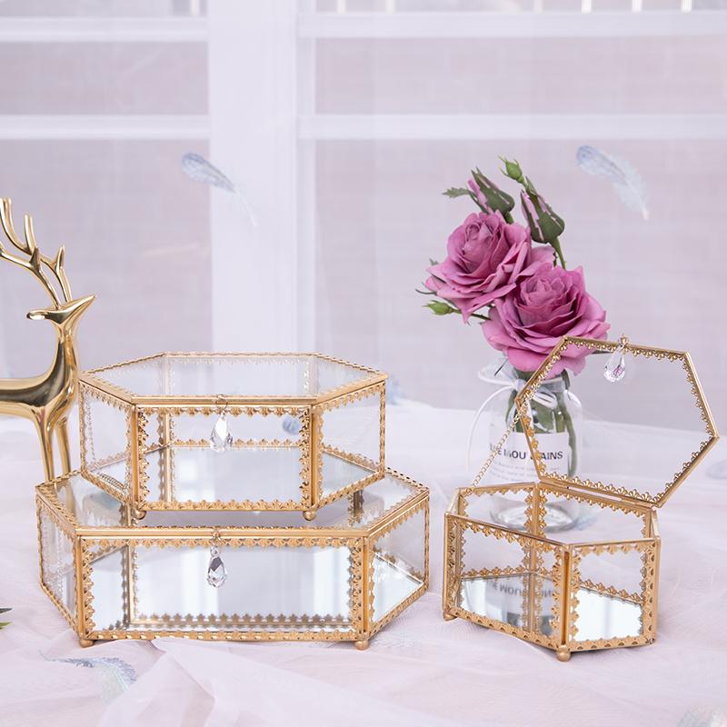 饰品收纳盒美甲家用欧式简约公主防尘玻璃耳饰品桌面首饰盒D08