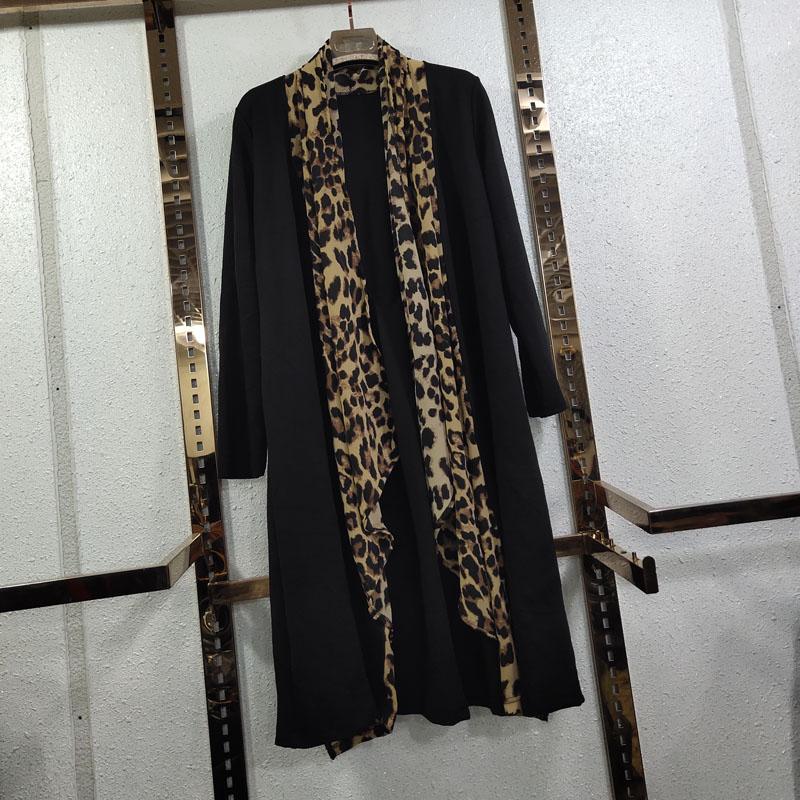 欧洲站加大码秋装风衣棉拼接外套开衫螺纹长显瘦网红豹纹雪纺外披