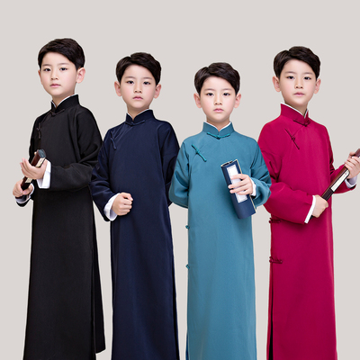Children's cross talk costume China long gown long coat boy tai chi kung fu robes Chinese style ancient costume Republic of China mandarin jacket Allegro performance Costume