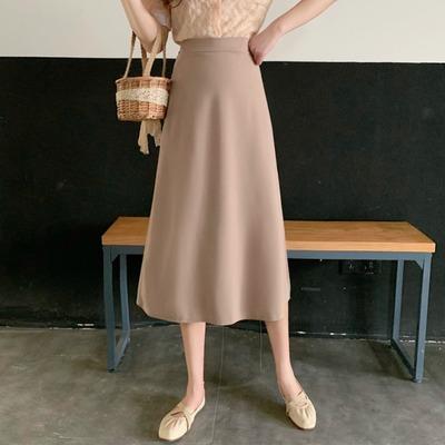taobao agent Net red skirt autumn 2021 new fashion high waist skirt female temperament long section was thin and wild A-line skirt