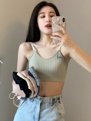 taobao agent Underwear women's no steel ring beautiful back bra small chest gathered sports vest bra girl student high school tube top wrapped chest
