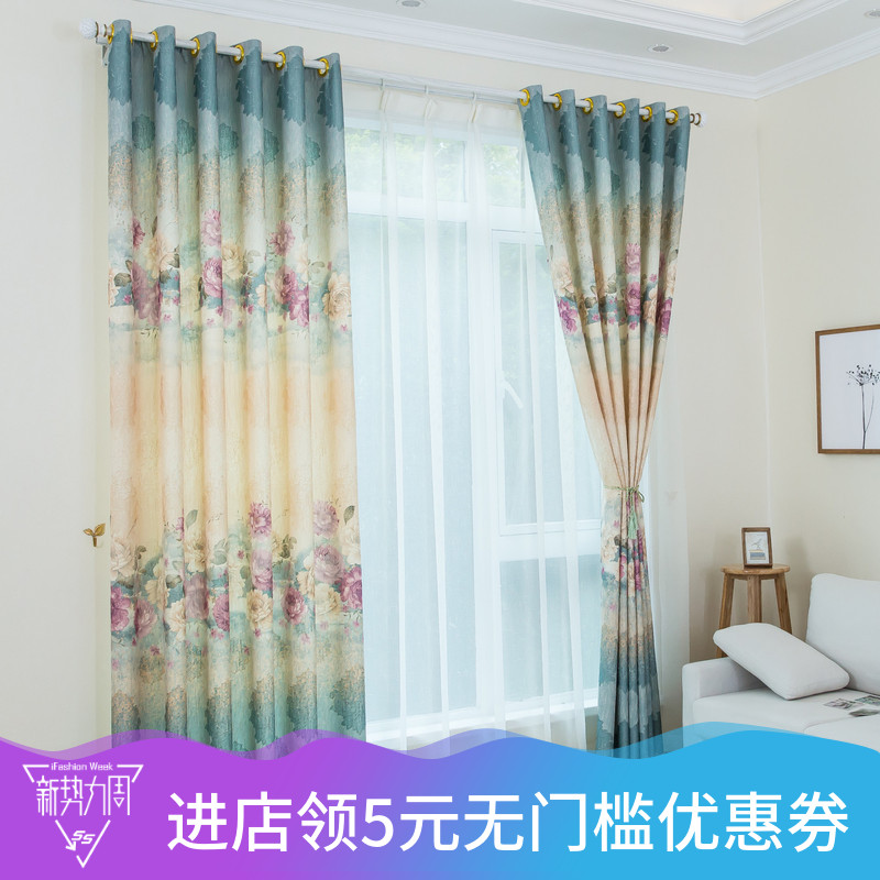 柯桥窗帘加厚麻料提花窗帘田园印花遮光窗帘布卧室客厅别墅成品
