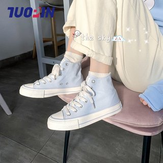 Shuangpin ins canvas shoes women's shoes 2020 summer new Korean version ulzznag wild board shoes high-top tide shoes