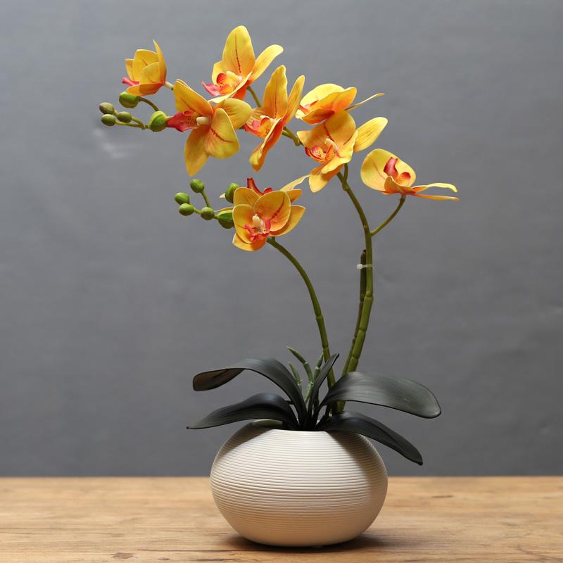 蝴蝶兰仿真花艺套装摆件创意客厅餐桌桌面假花小盆栽装饰摆设