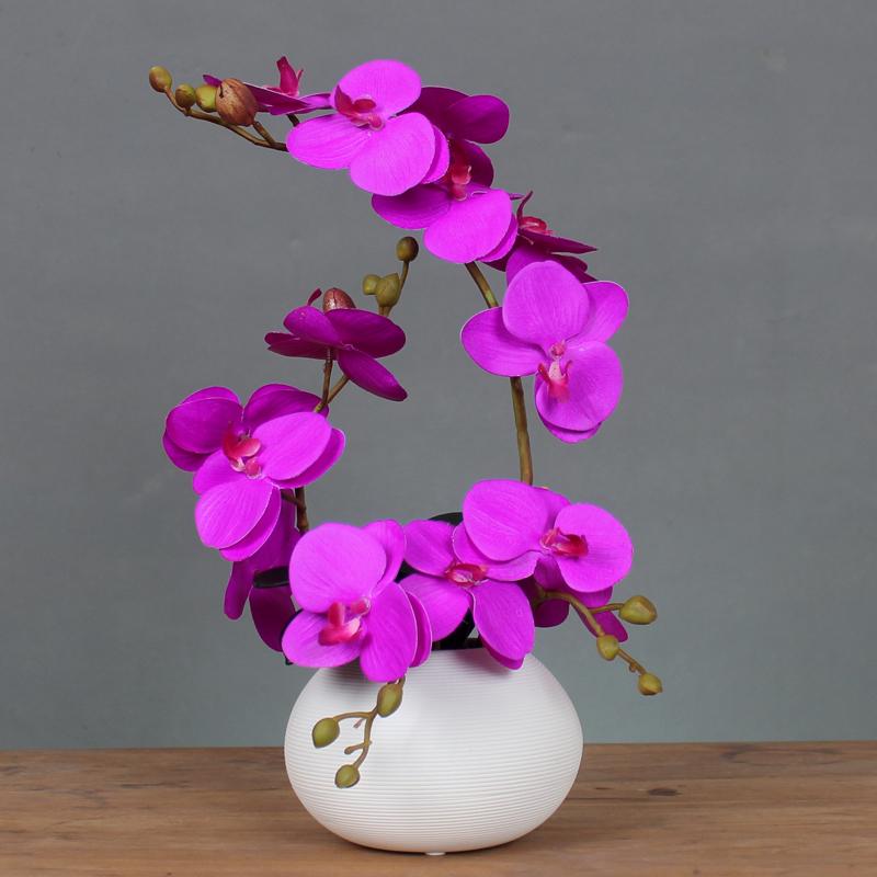 手感仿真蝴蝶兰花艺套装新中式家居假花盆栽装饰花摆设带陶瓷花瓶