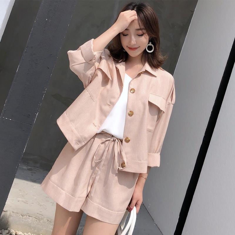 网红chic大哥廓西七分袖轻薄防晒小西装外套显瘦短裤套装女装安娜
