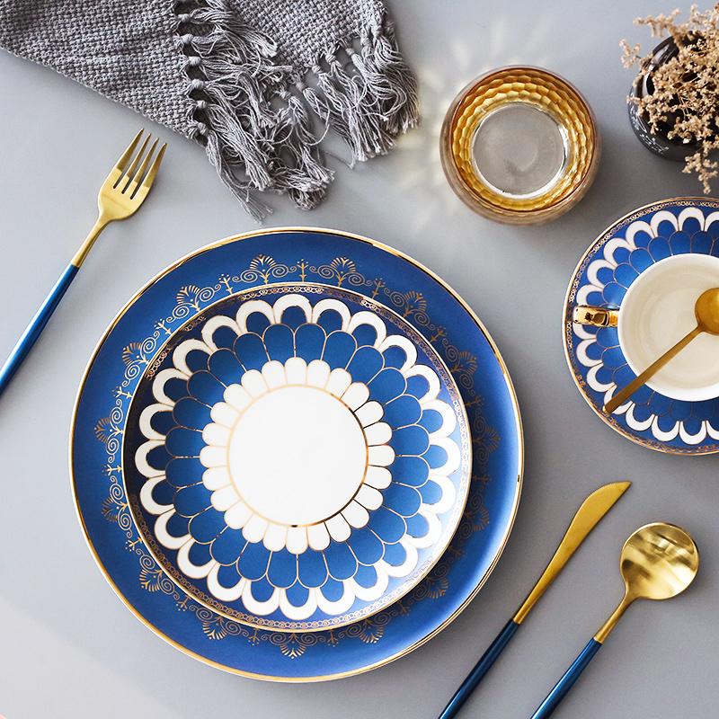 Phong cách châu Âu Câu lạc bộ nhà hàng Bắc Âu bàn ăn nhà hàng Phong cách phương Tây đĩa thức ăn phương Tây dao kéo đặt món tráng miệng bít tết tấm cà phê cốc - Đồ ăn tối