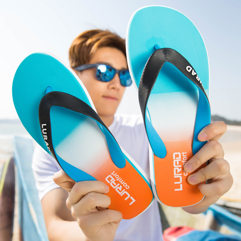 路拉迪时尚渐变男士人字拖鞋 夏季凉鞋男沙滩鞋防滑夹脚凉拖潮流