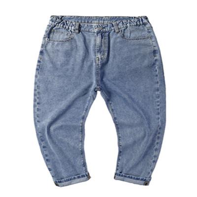 胖哥哥潮牌大码牛仔裤加肥加大男士秋季薄款九分裤宽松直筒老爹裤
