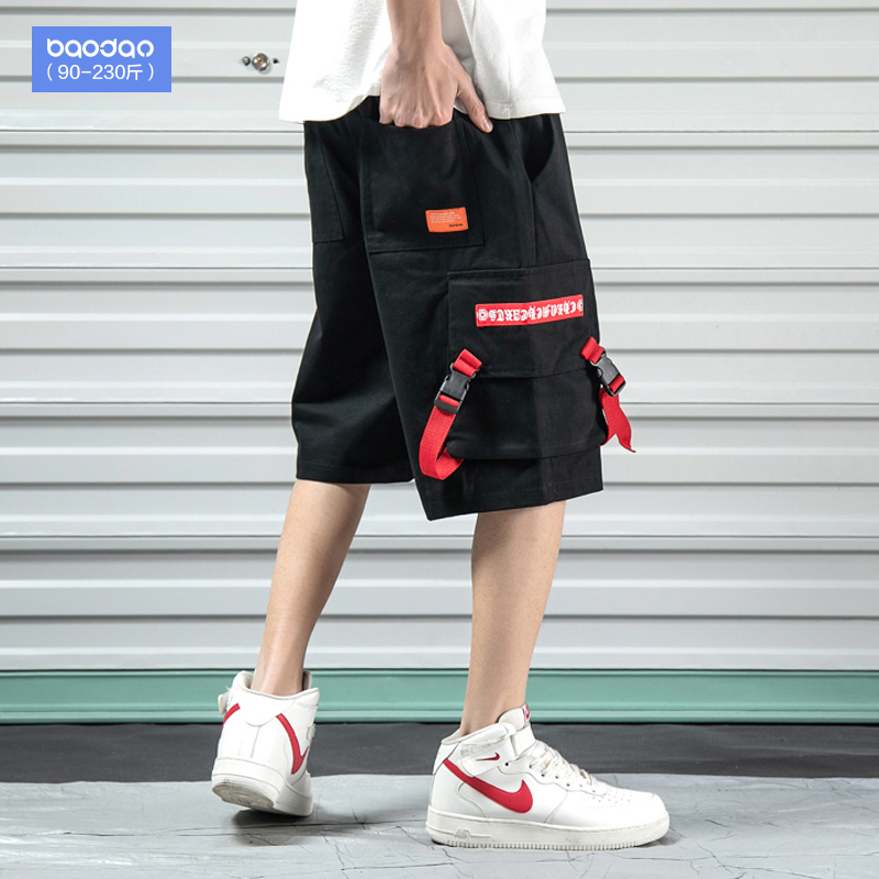Men's shorts summer loose casual pants overalls Tide brand straight sports pants plus fat plus size fat pants