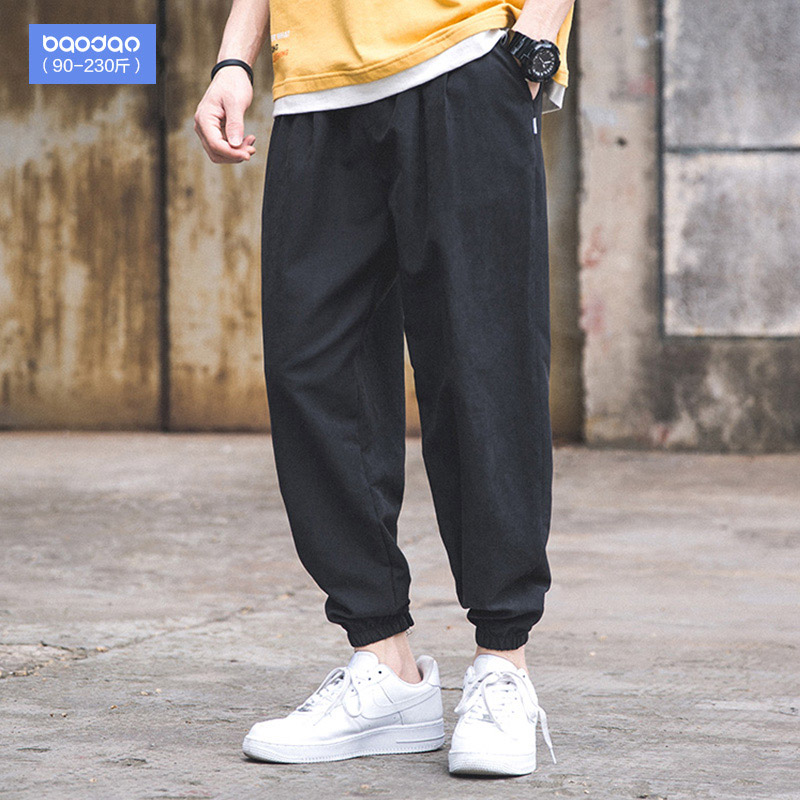 Summer men's casual pants loose fat pants tied to the feet sports nine-point thin pants fat plus extra code