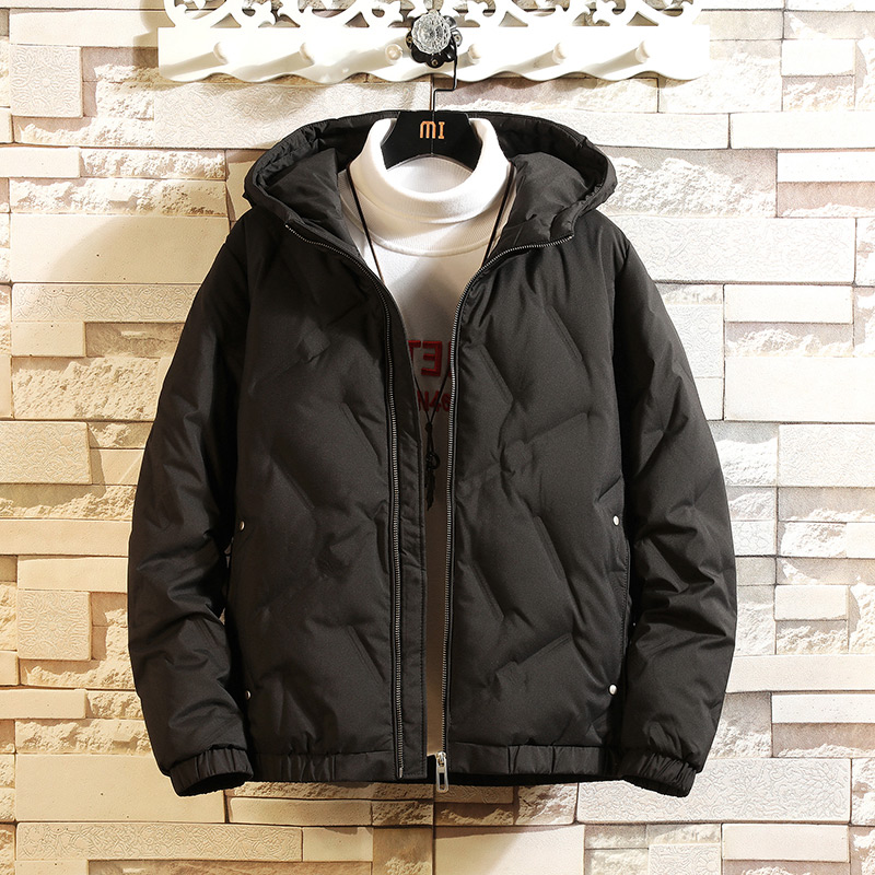 Men's short winter down jacket loose hood casual solid-colored jacket Korean version trend fat fat plus increase code