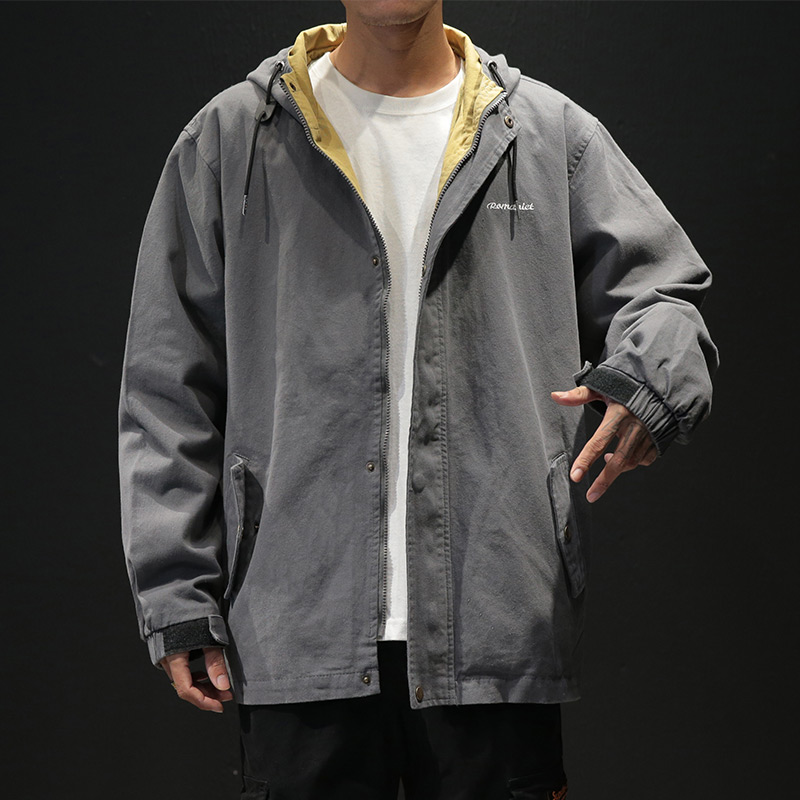 Spring and autumn workwear fashion jacket men's Hong Kong wind Korean version of casual top fat plus size loose fat fat jacket