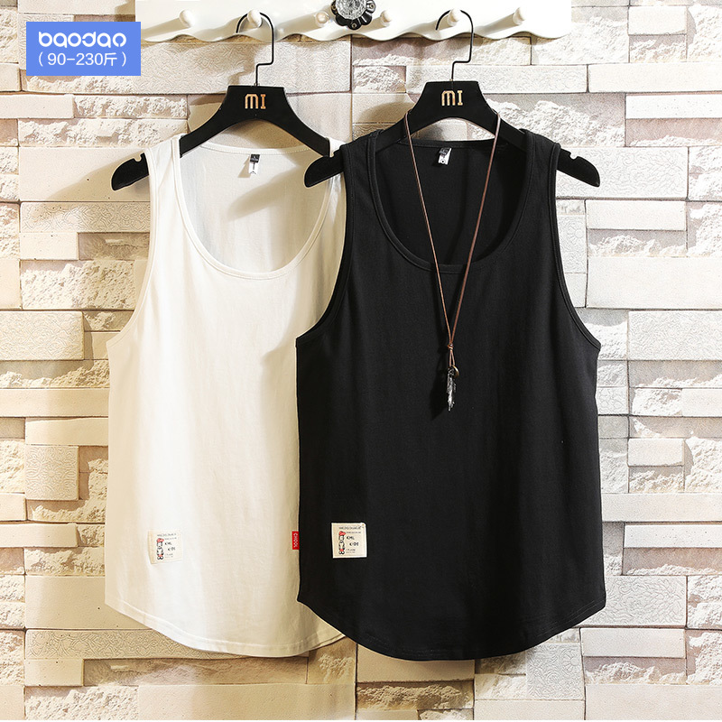 Summer sleeveless T-shirt vest men's trendy loose port wind fat plus size sports waistcoat bottoming shirt
