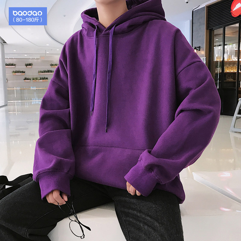 Men's spring and autumn plus fertilizer plus size long-sleeved hoodie fat plus velvet solid fat fat loose coat tooling