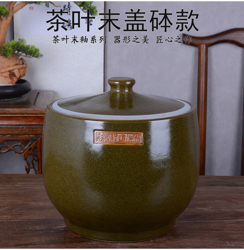 Jingdezhen ceramic barrel with cover home 15 kg 30 jins of 50 kg 100 vintage ricer box archaize seal storage tank