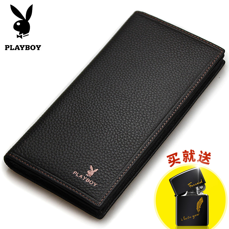 cfeab6ad7e0be5 Playboy wallet men's long tide youth first layer cowhide Japanese and  Korean money clip new leather ...