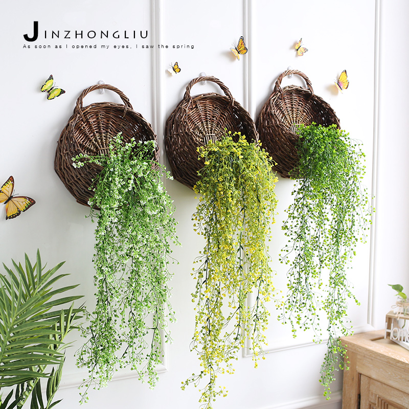 Past Wall Decoration Hanging Basket Wicker Flower Pot Simulation Plant Firefly
