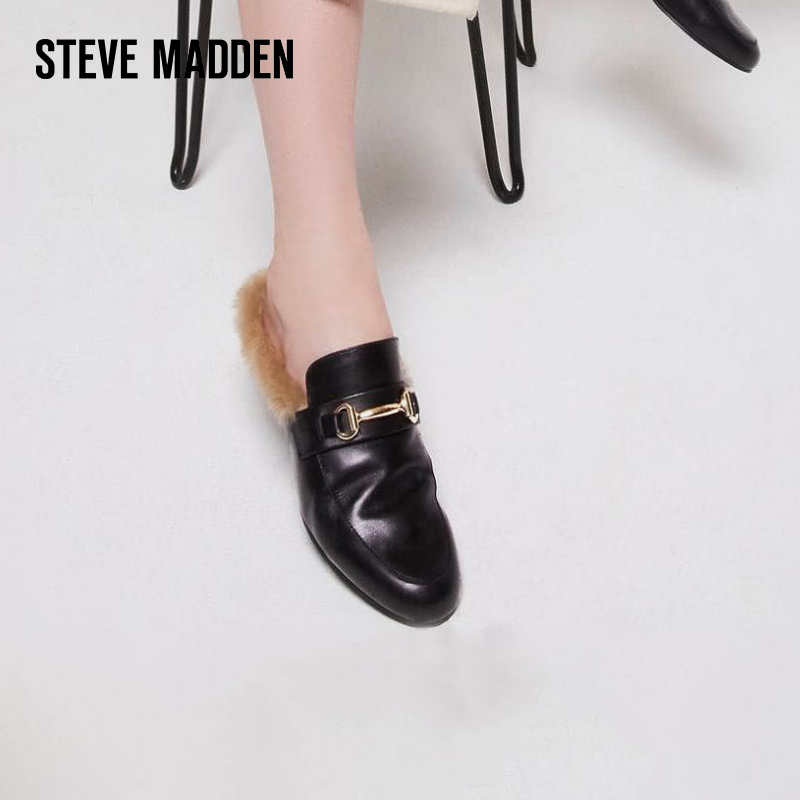 Steve Madden/思美登女鞋 穆勒鞋女 一脚蹬毛毛鞋女 秋冬外穿JILL