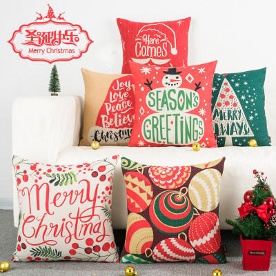 Cartoon Christmas INS Wind Festival Cotton Arts Pillow Pillow Office Leaning Sofa Belt Back