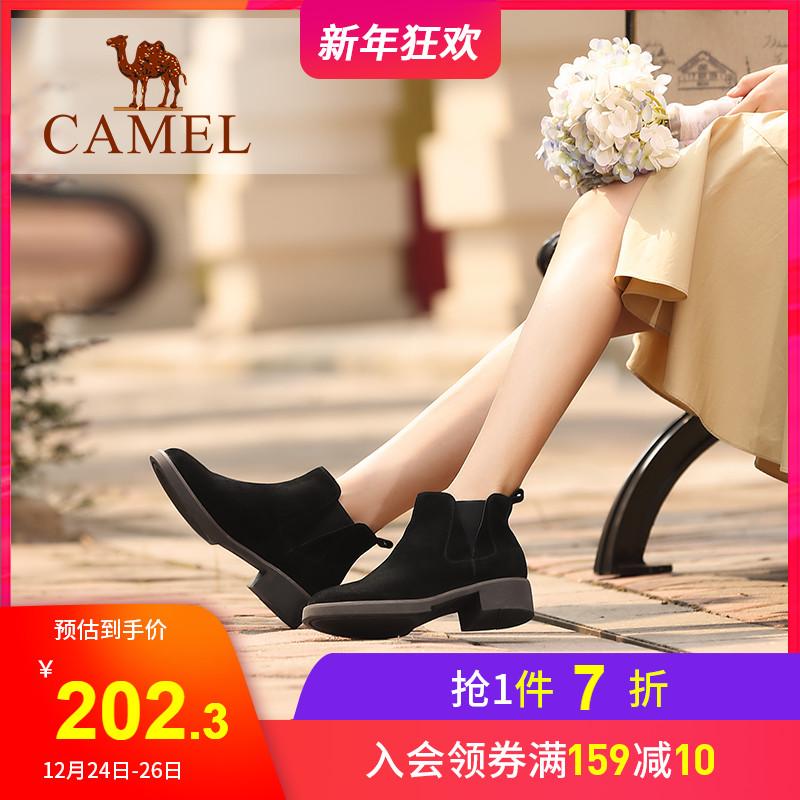 骆驼女鞋2019新款切尔西短靴女真皮磨砂平底加绒网红瘦瘦靴子女冬