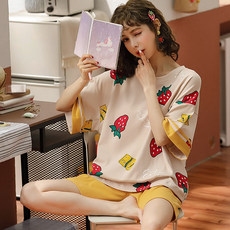 Summer new short-sleeved shorts pajamas female cotton sweet cute cartoon hooded Korean version of the two-piece suit