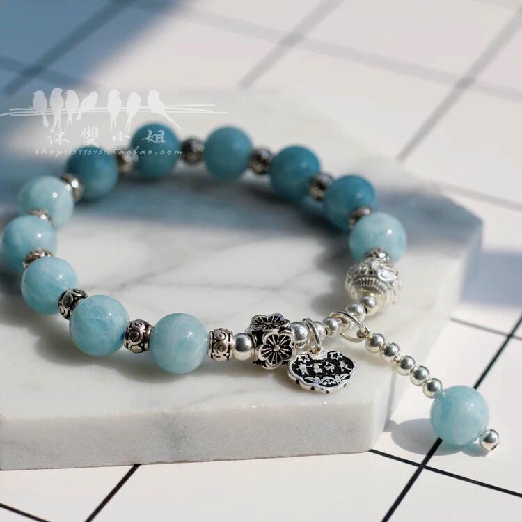 海蓝宝手串纯银天然水晶手链泰银蓝色设计推荐款幸运勇敢之石
