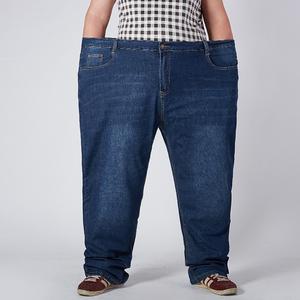 春夏高弹加肥加大牛仔裤男薄款长裤宽松直筒肥佬大号胖子高腰
