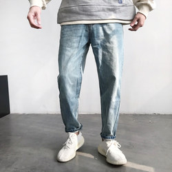 Spring casual shallow blue pants Japanese trend Harlan foot jeans loose trousers male Korean version of men's trousers tide