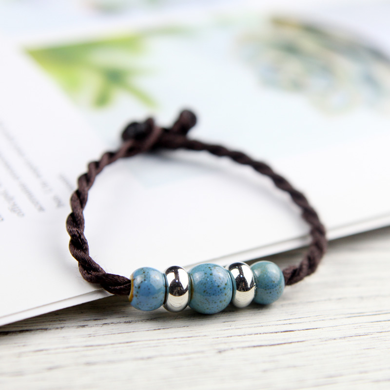 """QingGe new multicolor color glaze porcelain bead bracelet with girlfriends alloy small porcelain beads deserve to act the role of student bracelet set named """"supply"""""""
